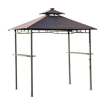 Outsunny 2Etagen BBQ Zelt 4LED Strips Pavillon Shelter W/Solar Panel